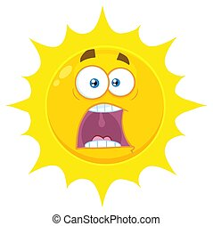 soleil, effrayé, caractère, type caractère jaune, expressions, panique, dessin animé, emoji