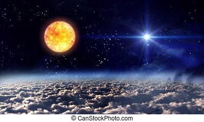 soleil, espace, étoile, nuit