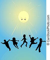 soleil, gosses, jouer, heureux