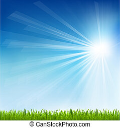 soleil, herbe, vert, faisceau