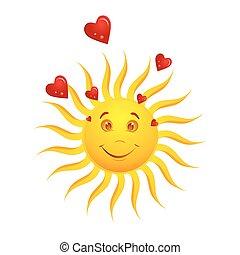 soleil, heureux, cœurs