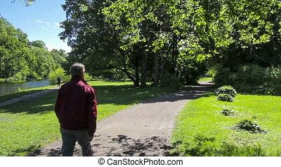 soleil, homme, parc, par, promenades