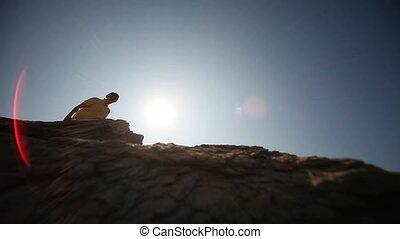 soleil, homme, rocher
