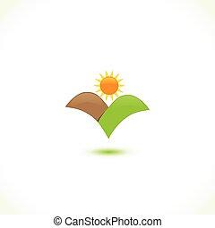 soleil, icône, montagnes, logo