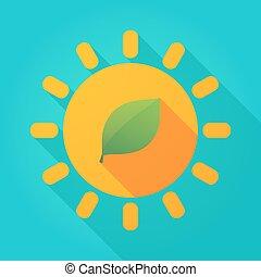 soleil, icône, ombre, long, vert, clair, feuille