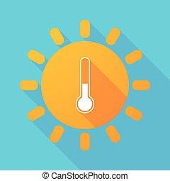 soleil, icône, thermomètre, long, ombre