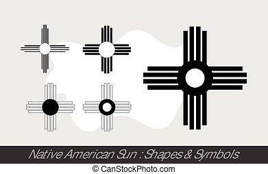 soleil, indigène, symboles, américain