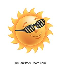 soleil, isolé, illustration, noir, rayé, brillant, lunettes