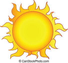 soleil, jaune, briller