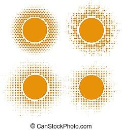 soleil jaune, halftone, formes