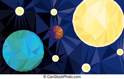 soleil, la terre, étoiles, espace