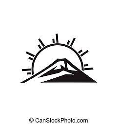 soleil, logo, montagne, vecteur, monogram, rayons