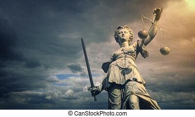 soleil, lueur, justice, statue