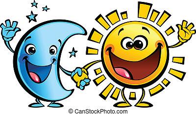 soleil, lune, caractères, bébé, amis, dessin animé, mieux