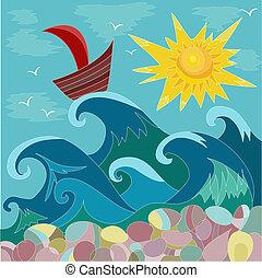 soleil, mer, bateau