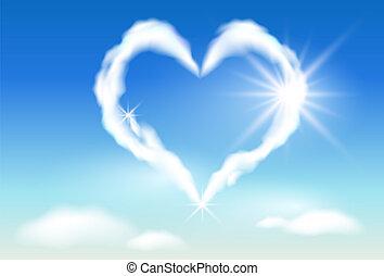 soleil, nuage, coeur