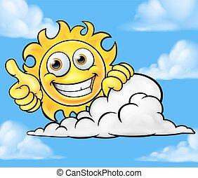 soleil, nuage, dessin animé, fond, mascotte