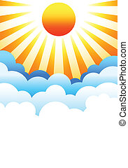 soleil, nuages, au-dessus, levée