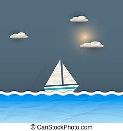 soleil, nuages, bateau, voile