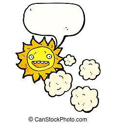 soleil, nuages, dessin animé