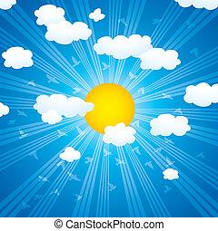 soleil, oiseaux, vecteur, nuages, rayons