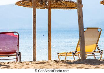 soleil, ombrelles, chaises plage, pont