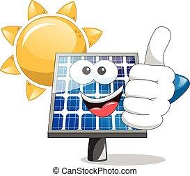 soleil, panneau, haut, solaire, pouce