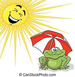 soleil, parasol, grenouille, dessin animé