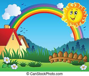 soleil, paysage, arc-en-ciel