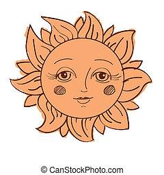 soleil, peint