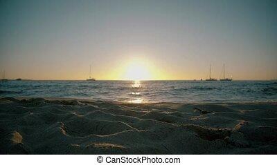 soleil, plage, bas, aller, formentera