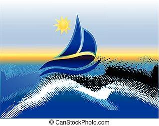 soleil, plage, bateau, fond