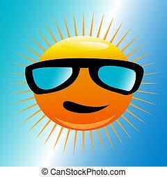 soleil, plage, lunettes soleil