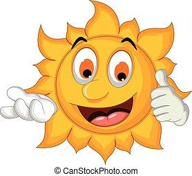 soleil, pouce haut, dessin animé