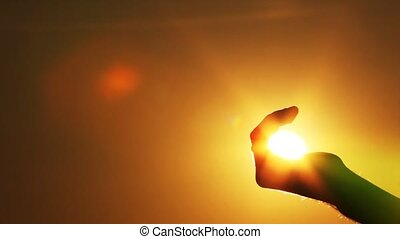 soleil, prises, poing, main