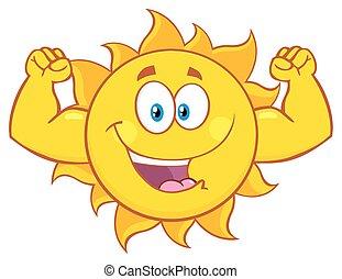 soleil, projection, muscle, bras, heureux