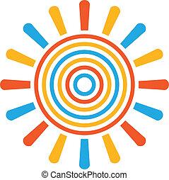 soleil, résumé, coloré, image., concep
