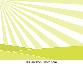 soleil, résumé, rayons, fond, champ