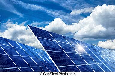 soleil, refléter, nuages, panneaux solaires