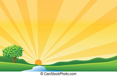 soleil, rivière