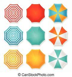 soleil, set., vecteur, parapluie, coloré