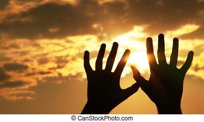 soleil, silhouette, contre, mains