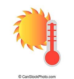 soleil, silhouette, température, coloré, thermomètre