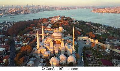 soleil, stabul, rayons, sophia, hagia, mosquée, premier, (constantinople)., ville, aérien, ancien, illuminer, vue