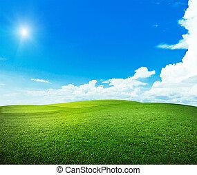 soleil, sur, collines