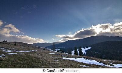 soleil, sur, défaillance, montagnes, temps