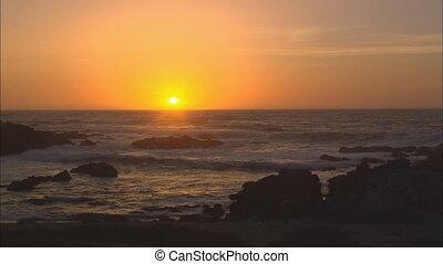 soleil, sur, monture, océan pacifique