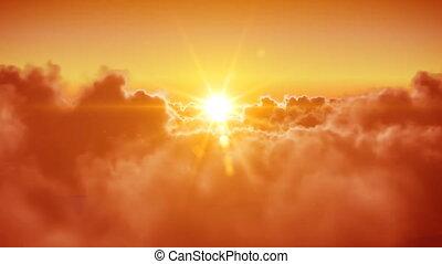 soleil, sur, voler, nuages