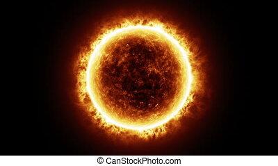 soleil, -, surface, éclats (flares), solaire, hd