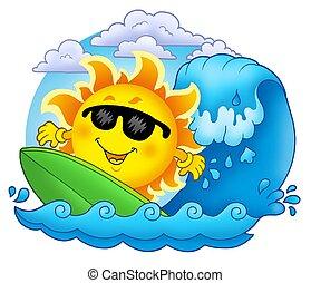 soleil, surfer, nuages